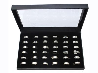 Κασετίνα με 36 δαχτυλίδια ατσάλινα 17~21mm [JEW-031]