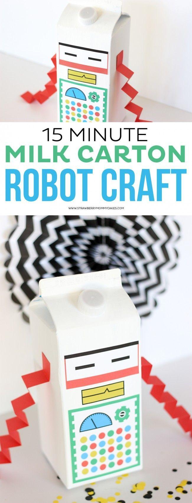 15 Minute Milk Carton Robot Craft                                                                                                                                                                                 More