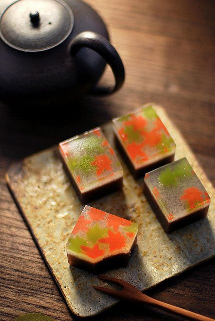 Japanese sweets: wagashi. (Wagashi is a traditional Japanese confectionary often served with tea)