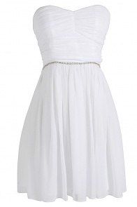 "Pretty ""get-away"" dress.  $60Time To Shine Rhinestone Embellished Chiffon Dress by Minuet in White"