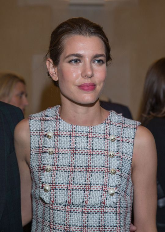 Charlotte Casiraghi in Gucci PF16 (Look 52) at opening of Kering & Balenciaga office
