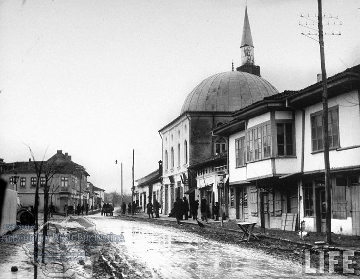80.Turtucaia.Mosque on muddy street in main part of town.