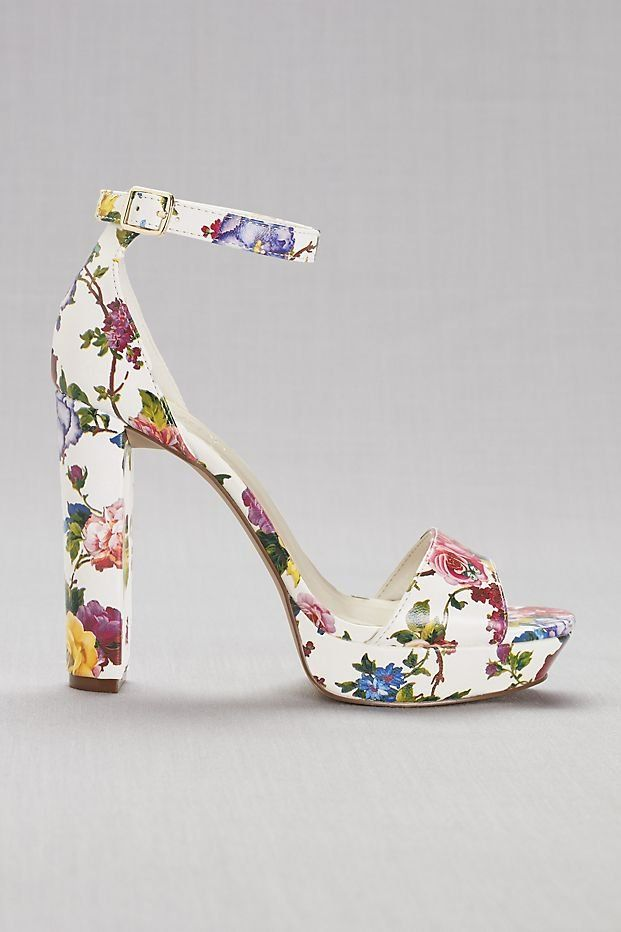 8ea10646a Floral Platform Heels | David's Bridal | prom shoes, flower printed heels, block  heel, platform prom heel, prom accessories