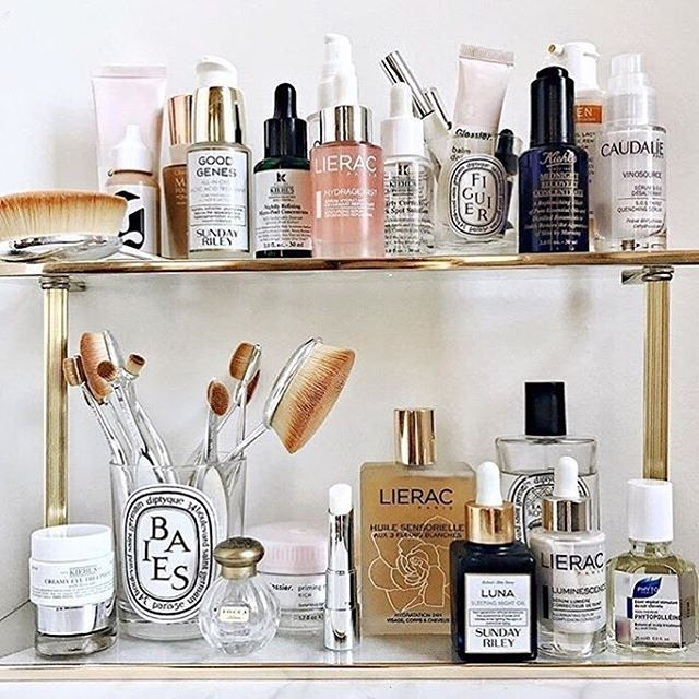 Bathroom beauty products vanity styling