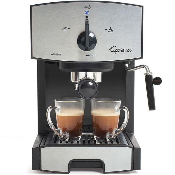 Capresso EC50 Espresso Machine ($100) ❤ liked on Polyvore featuring home, kitchen & dining, small appliances, cappuccino machine, espresso cappuccino machine, capresso espresso maker, capresso cappuccino machine and capresso