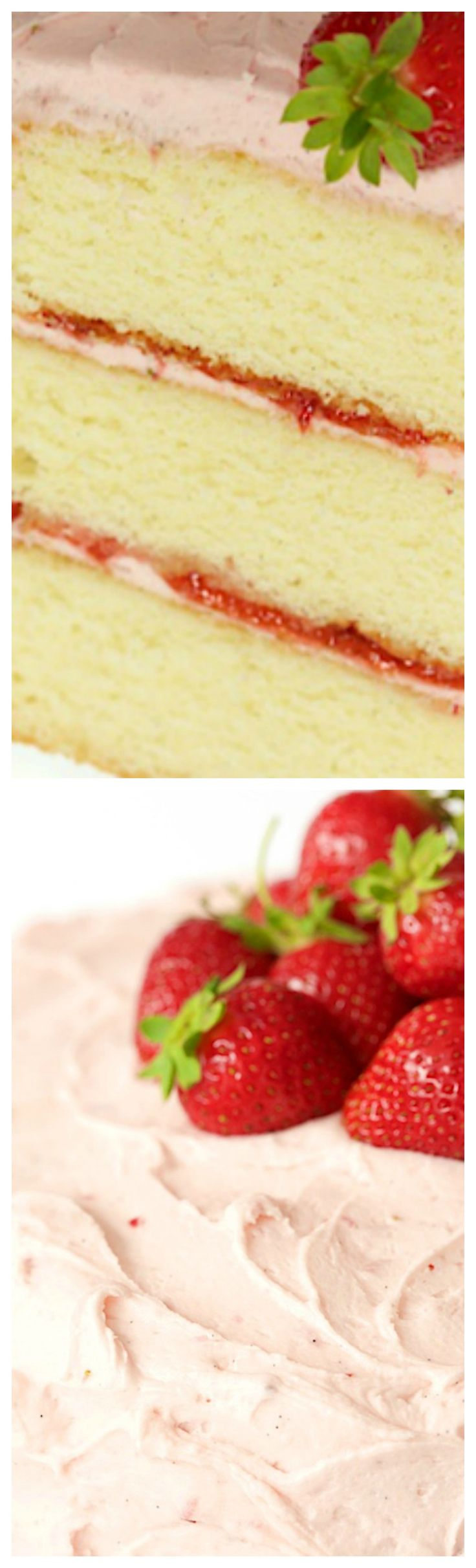 Strawberry Layer Cake ~ Layers of tender, moist yellow cake sandwiched between a double dose of strawberries - fresh strawberry buttercream and strawberry jam.