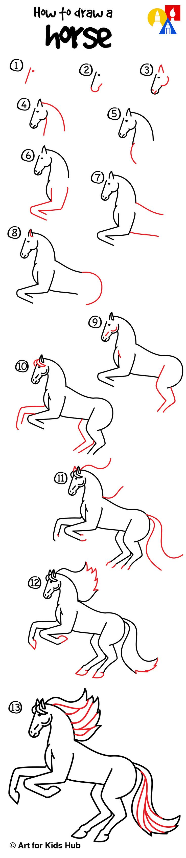 How To Draw A Realistic Horse (part 1)  Art For Kids Hub