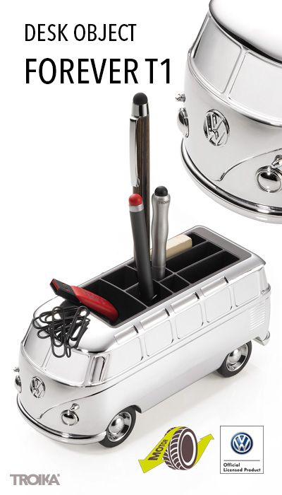 TROIKA FOREVER T1. VW Camper (T1, Samba bus, 1962), desk object and pencil holder, with magnet for paper clips, with friction motor, shiny. Discover a new old world right from your desk. *** VW Bulli (T1, Samba Bus, 1962), Schreibtisch-Objekt und Stifteköcher, mit Magnet für Büroklammern, mit Rückziehmotor, glänzend verchromt. Entdecken Sie eine neue, alte Welt von Ihrem Schreibtisch aus.