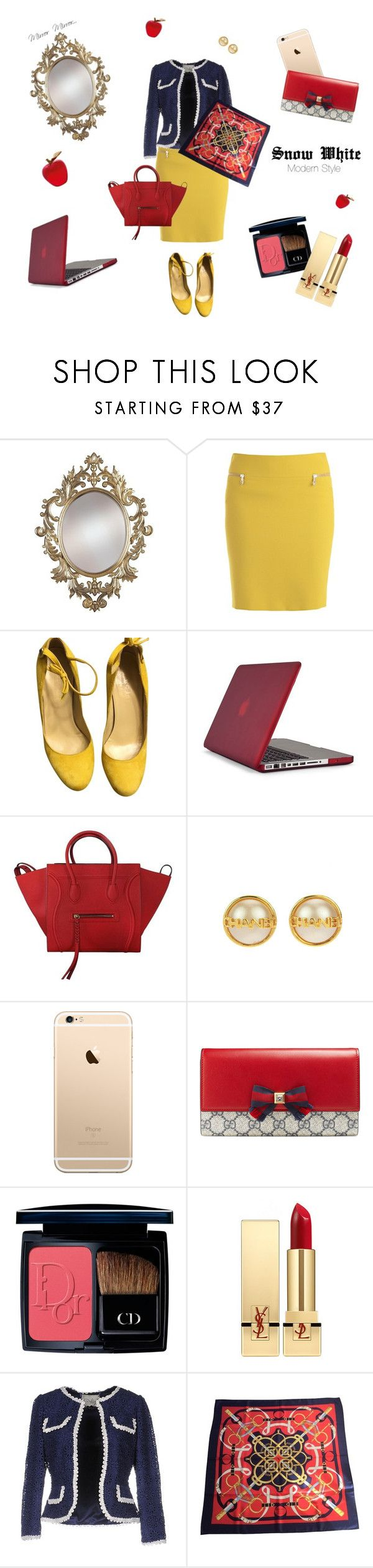 Snow White Office Style by miwandawanda on Polyvore featuring ファッション, Darling, Versace, Speck, Gucci, CÉLINE, Chanel, Hermès, Christian Dior and Yves Saint Laurent