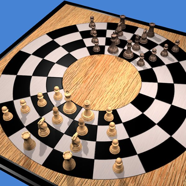 Play Circular Chess online 3D or 2D http://www.jocly.com/#/play/circular-chess