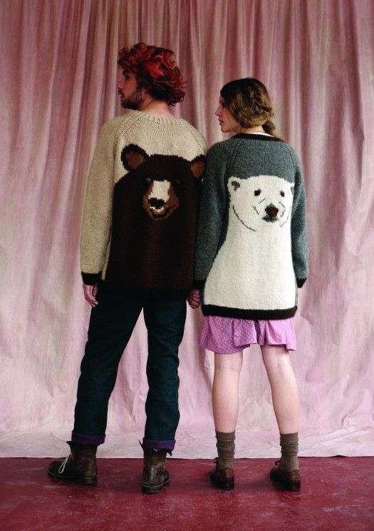 I don't know what is happening, but I love it.    (him) Brown Bear hand knit jumper, Lumberjack trousers  (her) Polar hand knit cardigan
