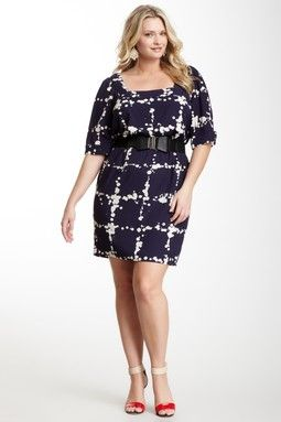 Jessica Simpson Square Neck Belted Contemporary Print Dress - Plus Size