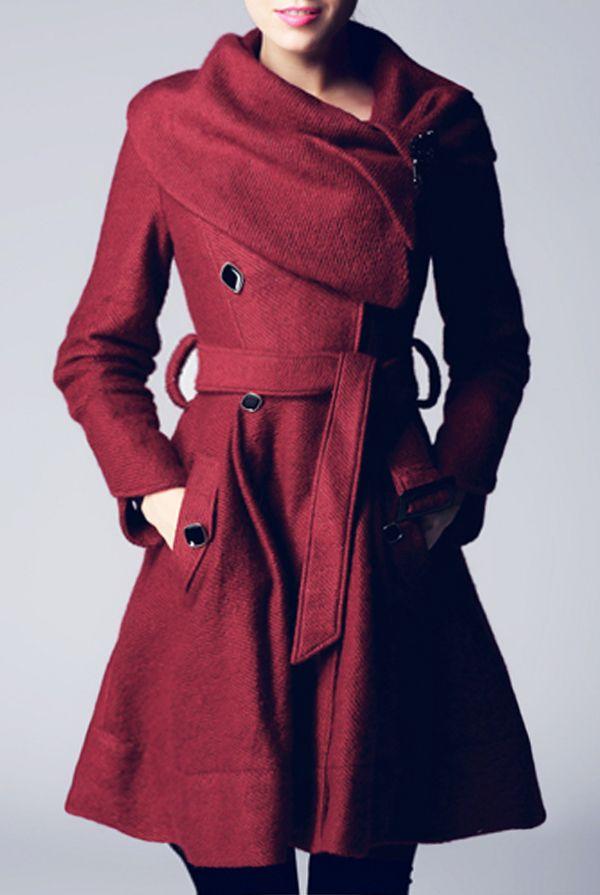 beautiful fall color! Dark Red Coat - ICKL Fashion - $199