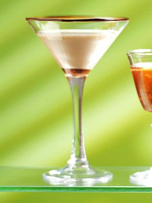 Create an elegant holiday drink by dipping martini glasses in chocolate-flavored hard-shell-style ice cream coating. Drizzle a little in the bottom of the glass for good measure.