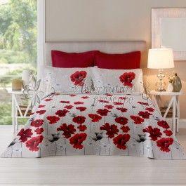 Cottonissima Poppy Field Chilli Pepper - lenjerie de pat din bumbac 2 persoane