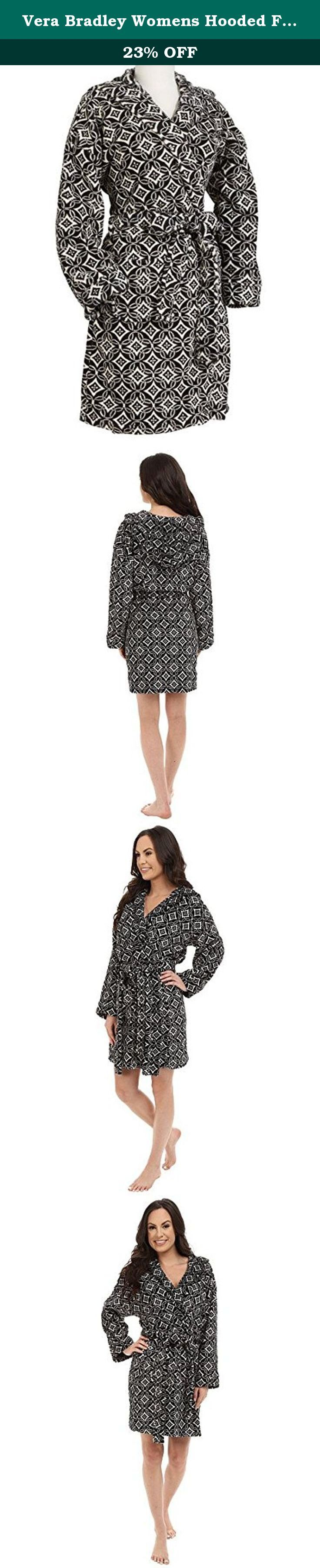 Vera Bradley Womens Hooded Fleece Robe Concerto Robe SM/MD. We added a cozy hood to our 100% microfleece robe. Featuring an allover Signature print, this supersoft robe has convenient patch pockets and a tie belt for an always perfect fit. Pair it with a matching pair of Slipper Booties or Fleece Slippers for a complete and comfy look. Details & Care Tips Details 100% microfleece Allover Signature print Above-the-knee length Patch pockets Tie belt with two belt loops Interior anchor tie…