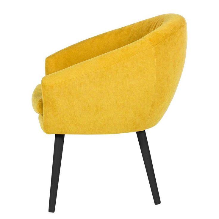 Scandoo fotel klubowy na drewnianych nogach żółty