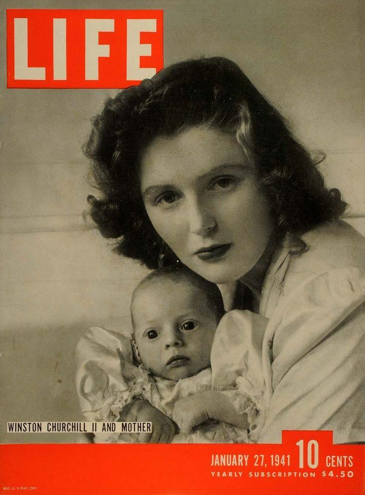 Pamela Harriman Churchill and son Winston Churchill II, Life, January 27, 1941.
