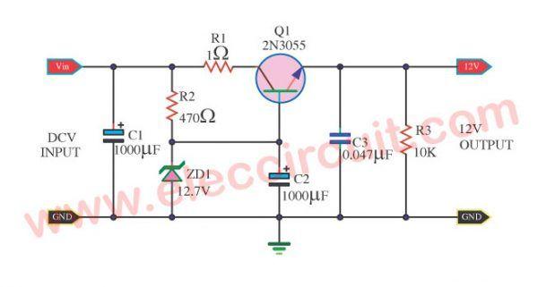 Simple Voltage Regulator Using 2n3055 Eleccircuit Com Voltage Regulator Power Supply Circuit Simple Circuit