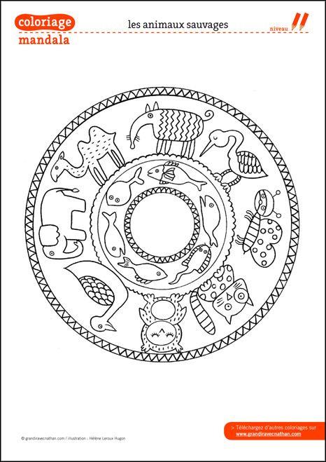 Coloriage Mandala : Les animaux sauvages