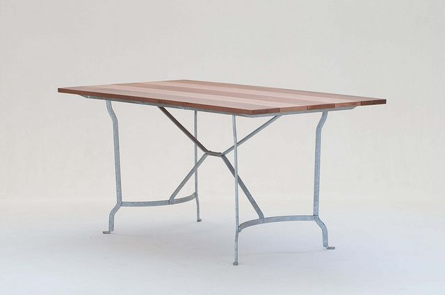 Bistro Table with Natural Timber Top and Galvanized Frame - Inside Out Home Boutique