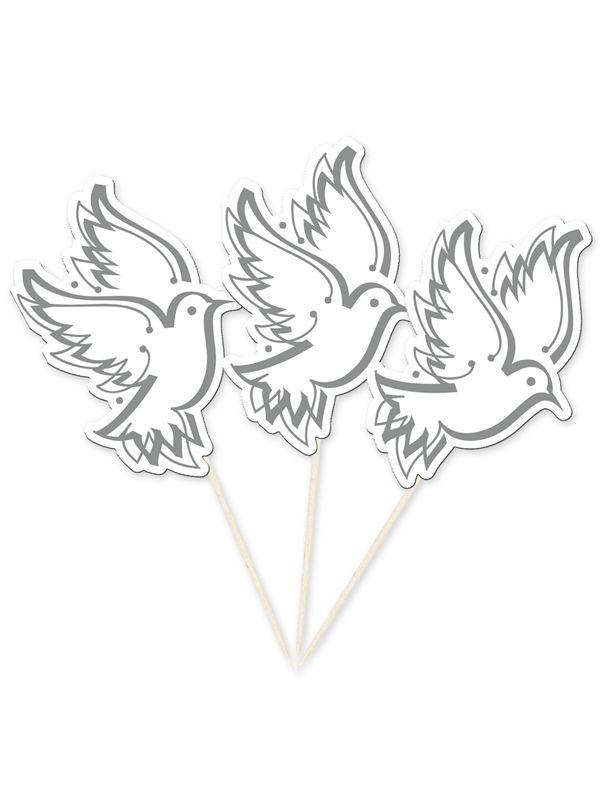 Grote prikkers witte duiven. Grote houten prikkers van ongeveer 6.5 cm met daarop witte duiven van karton. Verpakt per 10 stuks.