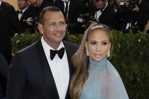 """Jennifer Lopez was all smiles as she gushed about retired New York Yankees star Alex Rodriguez on """"The Late Late Show with James Corden."""""""