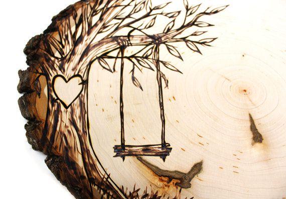 Diseño del árbol del oscilación país: Rústico tema rebanada de madera boda libro de visitas. Personalizada