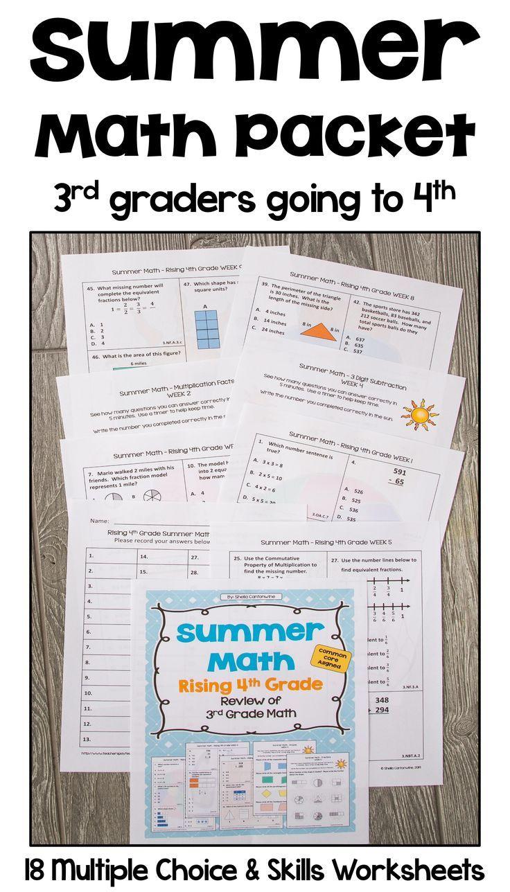 Summer Math Packet Review Of 3rd Grade With Detailed Answer Keys Summer Math Packet Math Packets Summer Math