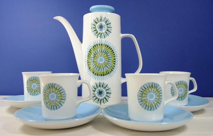 Vintage Retro 60's 70's J Meakin Aztec Ironstone Coffee Set Coffee Pot 4 Cups Saucers. £39.99, via Etsy.