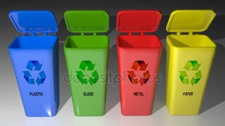 Four colored cans for material recycling — Stock Photo © carlotoffolo #157922350