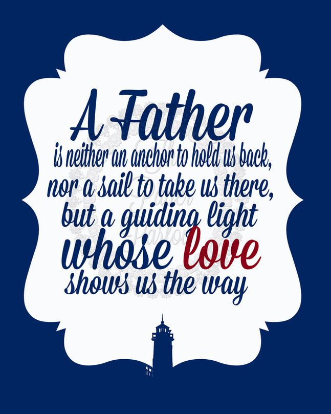 A Father Is A Lighthouse Quote Art Print by The Paper Parlour - The Paper Parlour
