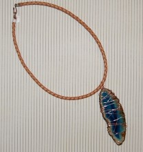 "18 inch Blue Geode ""rock"" necklace wrapped with cooper on leather strap. Was so fun to make."