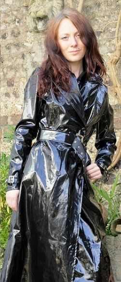 Highly polished shiny PVC maxi coat from the seventies
