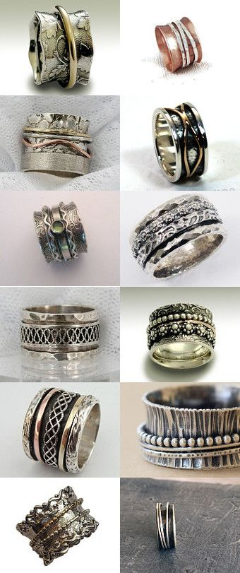 Jewelry   Jewellery   ジュエリー   Bijoux   Gioielli   Joyas   Art   Arte   Création Artistique   Precious Metals   Jewels   Settings   Textures   spinner rings by mysugarbear on Etsy--Pinned with TreasuryPin.com