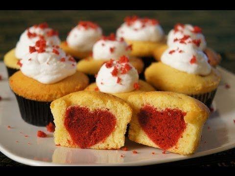 Cupcake con cuore , ricetta San Valentino ,muffin romantici con  cuore
