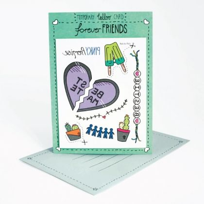 Together through thick and thin.   Write your message on the back of the card. The person who receives it can then cut out and stick on the temporary tattoos attached to suit the occasion.