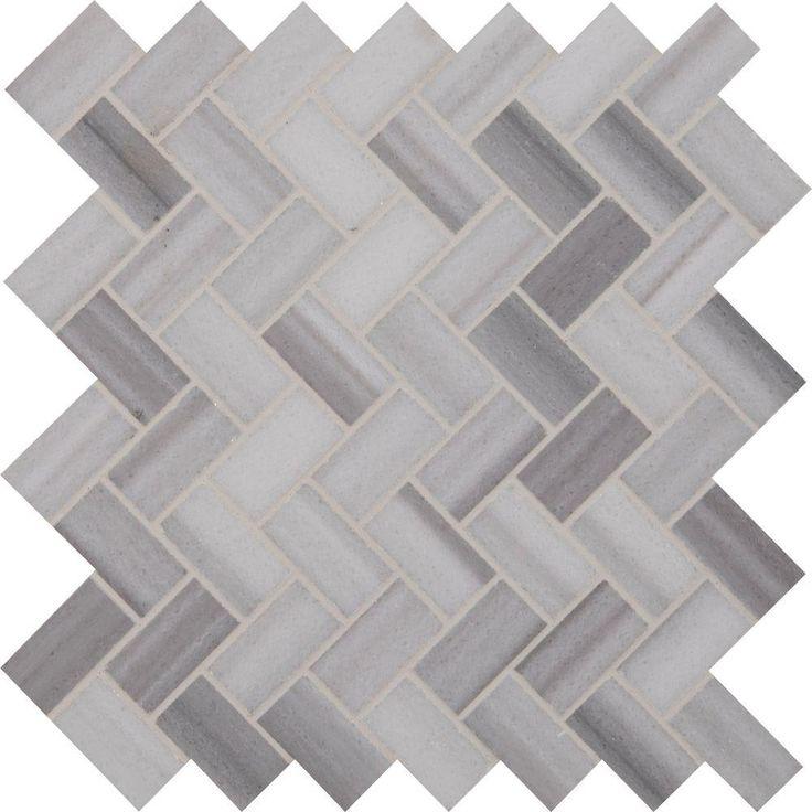 MS International Bergamo Herringbone 12 in. x 12 in. x 10 mm Polished Marble Mesh-Mounted Mosaic Floor and Wall Tile-BERGAMO-HB - The Home Depot
