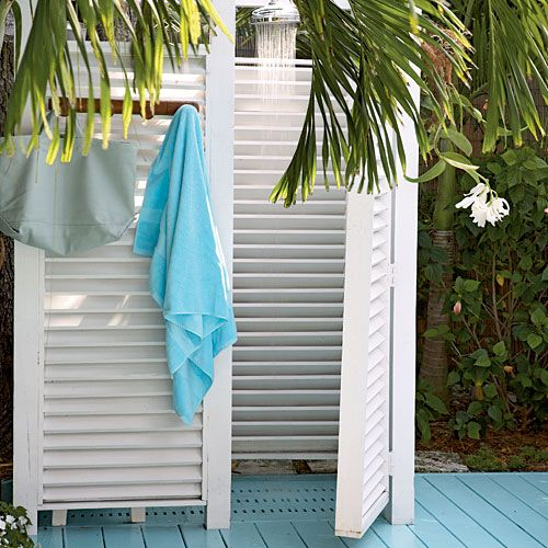 Match Setting - Fresh-Air Outdoor Bath Showers for Beach Houses - Coastal Living