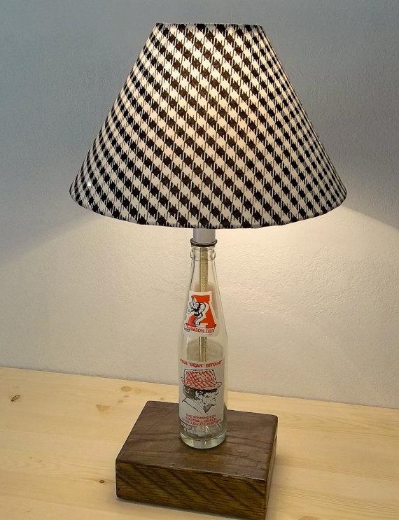Bear Bryant E Bottle Commemorative Lamp With Houndstooth Shade Alabama Decabama Bedroomalabama Footballalabama Crimson Tideroll