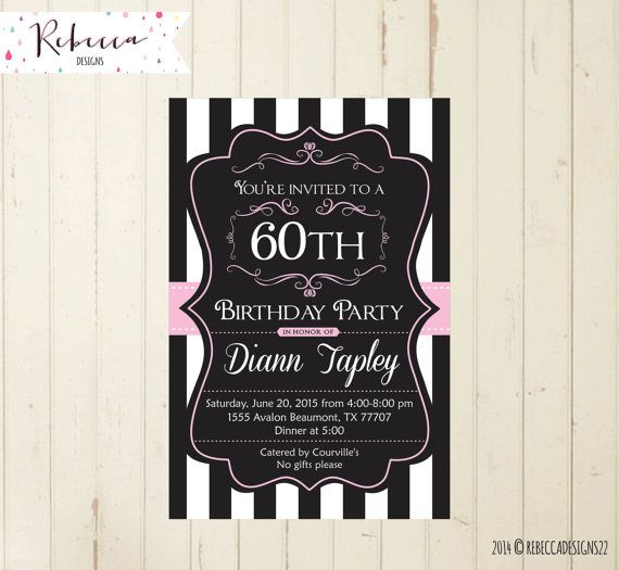 black and white invitation pink satin by RebeccaDesigns22 on Etsy