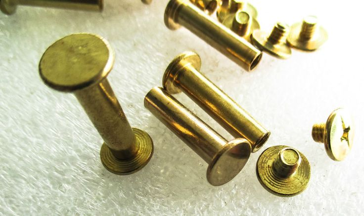 Chicago Screw Brass Plated 9mm Flat Head 15mm or20mm high belts, wallets, albums #Jaszitupleatheraccents