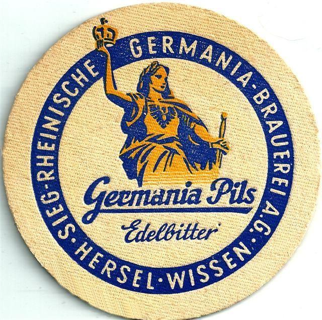 alter Bierdeckel - Germania Pils Edelbitter - um 1970