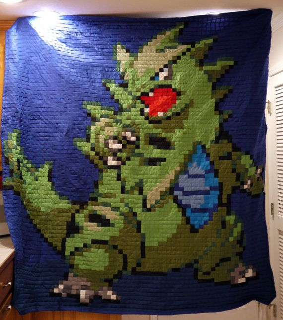 Tyranitar Full sized Quilt by 8bitHealey