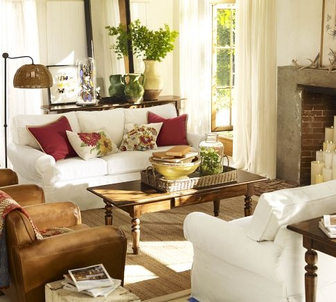 2 big couches 2 chairs Garden Style Living Room At Potterybarn