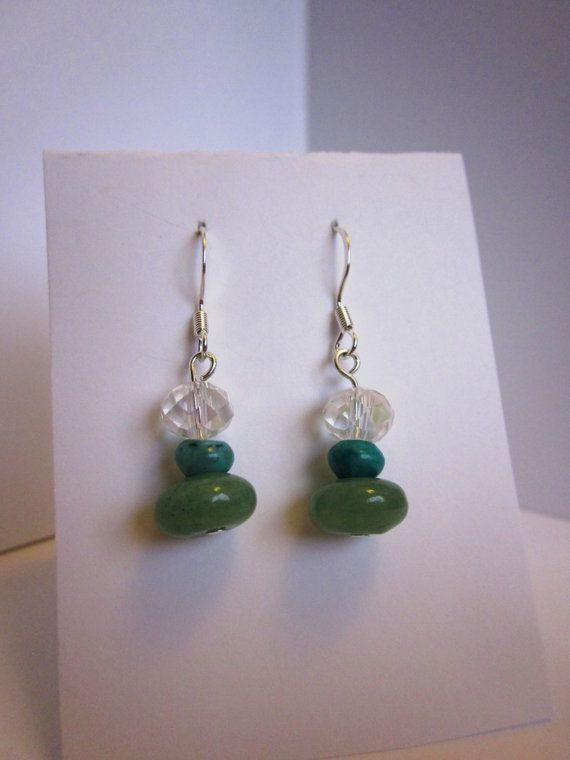 Jade, crystal and turquoise earrings! Check out this item in my Etsy shop https://www.etsy.com/listing/211371580/jade-green-bead-with-clear-crystal-and