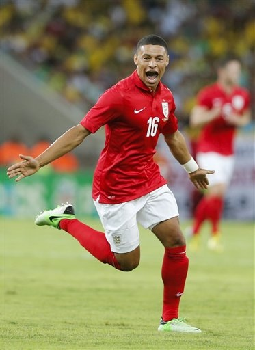 ~ Alex Oxlade-Chamberlain of the England National Team celebrating his goal against the Brazil National Team ~