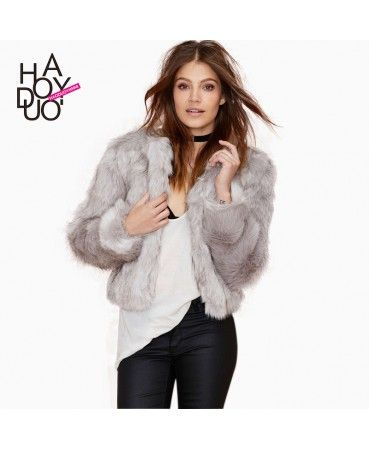 Grey faux fur coat A0883