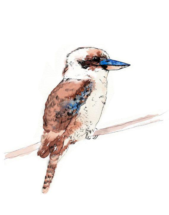 "Australian Kookaburra Art Print ""Kookie"" A4"