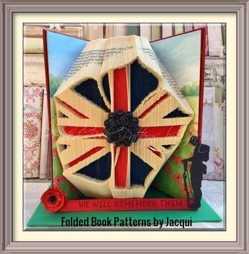 Military Inspired Poppy Book Folding Pattern by JHBookFoldPatterns on Etsy